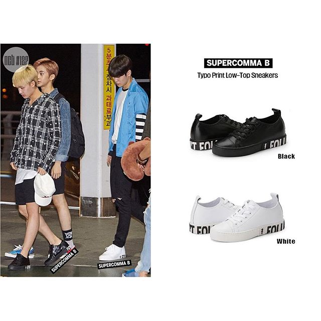 nct127 공항패션 Supercomma B 👀 . Typo Print Low-Top Sneakers (Black&white) . www.supercommab.com #supercommab #슈퍼콤마비 #nct127 #공항패션 #로우탑스니커즈 #스니커즈 #태일 #재현 #nct패션 #스트릿 #패션 #fashion #sneakers #streetfashion #street #casualwear @bonnieshoes